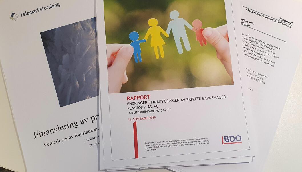 Telemarksforskning, BDO og Aktuarfirmaet Lillevold & Partners er bare noen av dem som har levert rapporter som har sett på pensjonspåslaget til private barnehager.