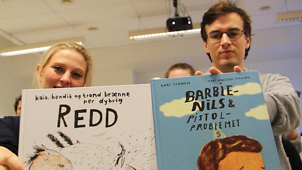 Kjønnsroller i barnebøker. Barnehagelærerstudentene Benedikte Mæland ogJoachim Støylen deltok i prosjektet og representerte Høgskolen i Oslo og Akershus. De mener det står sånn passe til med kjønnrollearbeidet i bildebøkene de jobbet med.