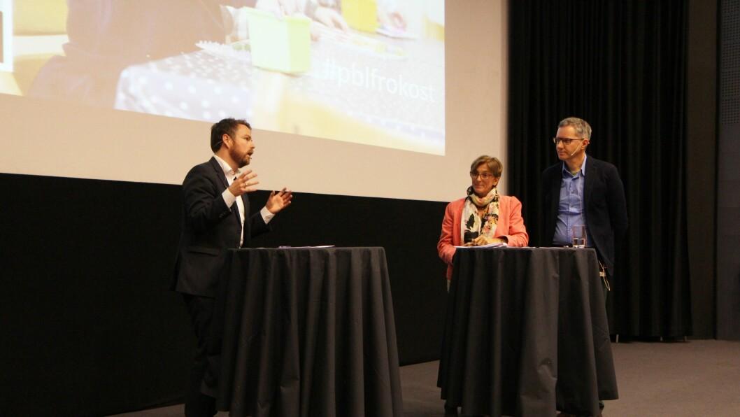 Fra venstre: Kunnskapsminister Torbjørn Røe Isaksen, administrerende direktør Marit Lambrechts i Kunnskapsbarnehagen Espira og eier og daglig leder Hans Jacob Sundby i Læringsverkstedet.