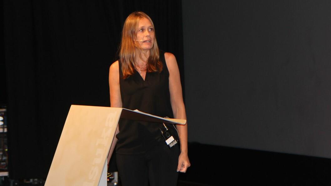 Forsker og barnehagelærer Elisabeth Bjørnestad på barnehagedebatten under Arendalsuka.