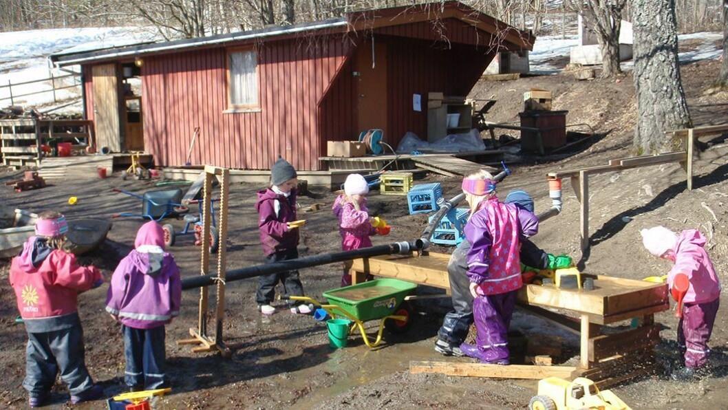 Vannleik med rørsystemer og pumper: Vårtun barnehage på Steinkjer vant Forskerfrøprisen 2015. Her er et av bildene som dokumenterer hvordan barnehagen bruker utelekeområdet som læringsarena for realfag.
