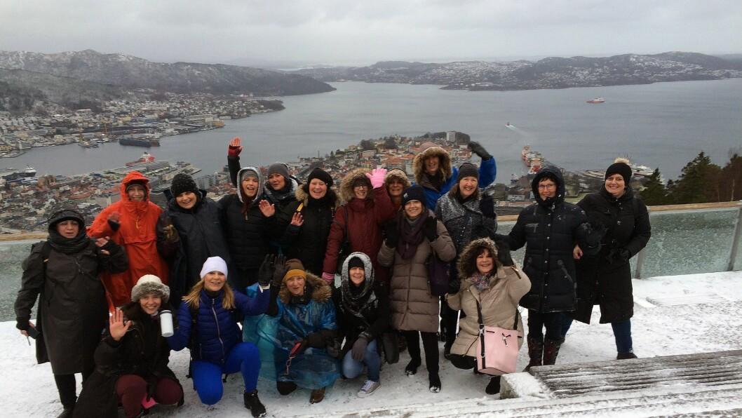 Første prosjektmøte ble avholdt i Bergen. Da ble detogså tid til en tur på Fløyen for å nyte utsikten over byen.