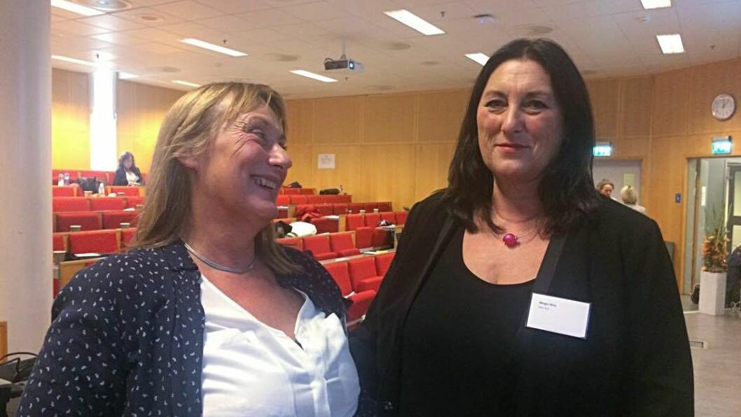 """Forskere i """"Blikk for barn"""" på avslutningskonferansen i Oslo: Ellen Os og Nina Winger."""