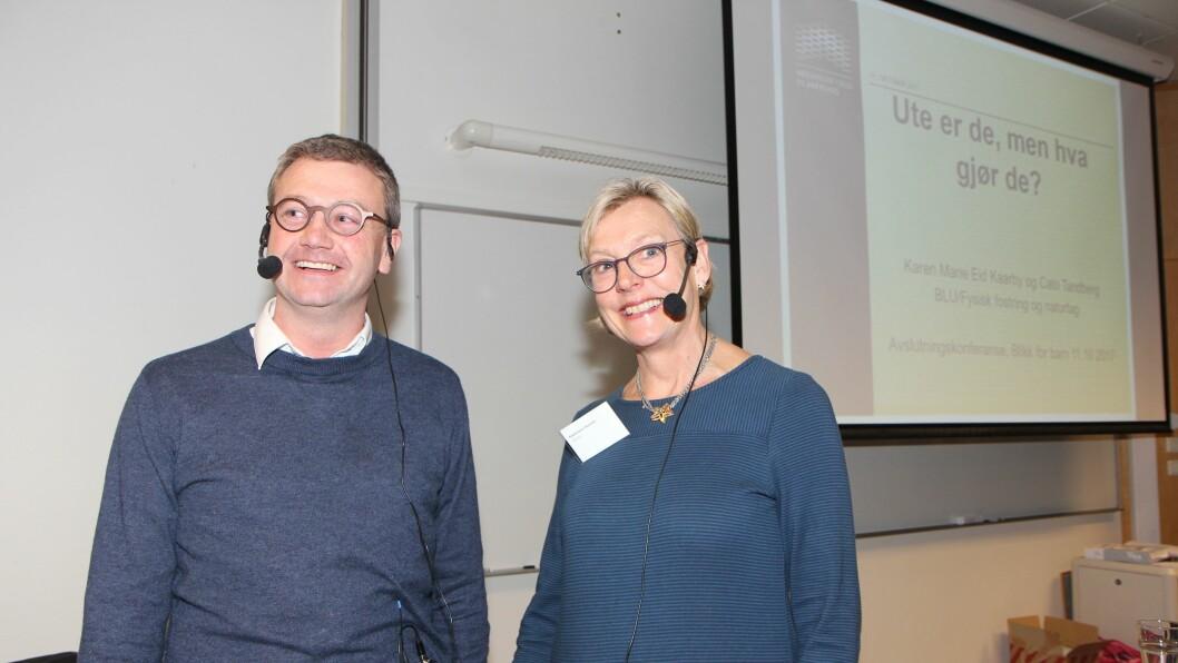 Førstelektor Cato Tandberg og førstelektor Karen Marie Eid Kaarby under sluttkonferansen for «Blikk for barn».