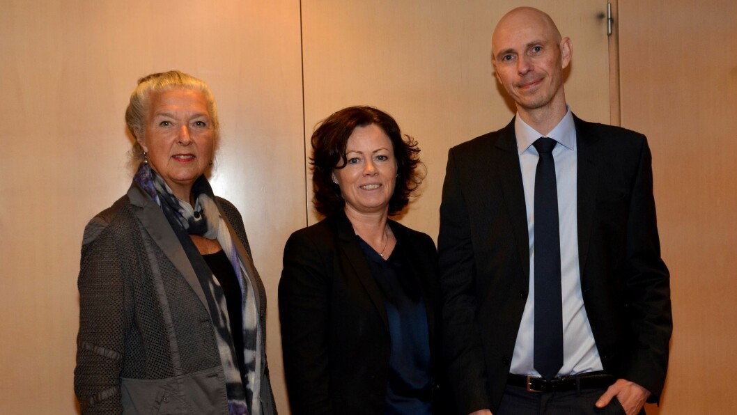 Fra venstre: Leder for utvalget Ann-Kristin Olsen, statsråd Solveig Horne og nestleder Dag Øystein Nordanger.