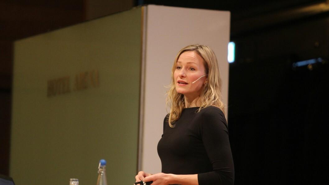 Inga Marte Thorkildsen på Barnehageforums konferanse om tidlig innsats i barnehagen.