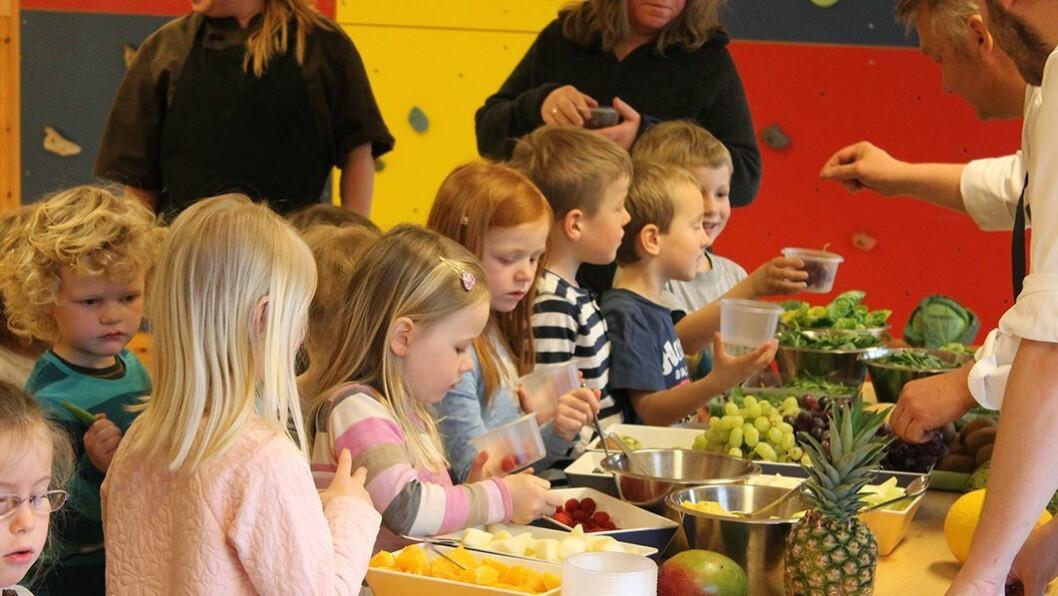 Bergheim barnehage i Trondheim inviterte til matmesse. Barnehagens egen kokk og to kokker fra Bama sørget for at barna ble presentert for ulike typer frukt og grønnsaker.