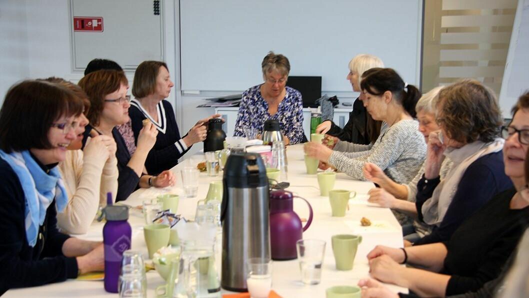 18 godt voksne damer var samlet til seniorsamling på Jessheim. På agendaen sto blant annet viktige tiltak for å jobbe lenge i Læringsverkstedets barnehager.