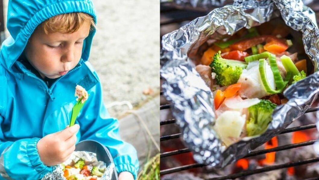 Sikker vinner: Fiskefilet og grønnsaker i folie er er sunt og godt alternativ til grillpølser, og barna i Ekrehagen barnehage i Tromsø synes det er gøy å lage sitt eget måltid fra grunnen av.