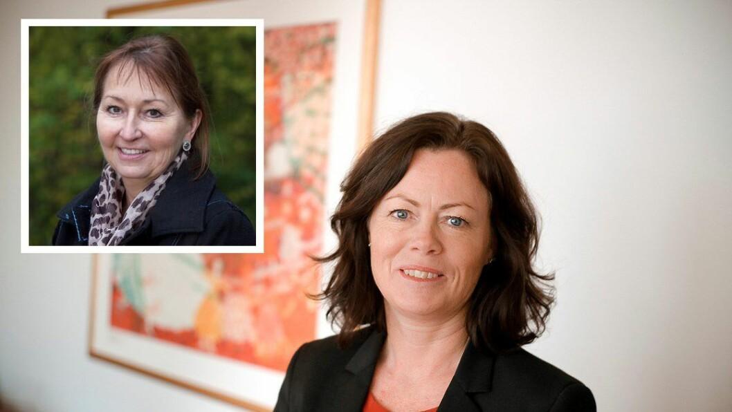 Barne- og likestillingsminister Solveig Horne og styreleder i KS, Gunn Marit Helgesen (innfelt).