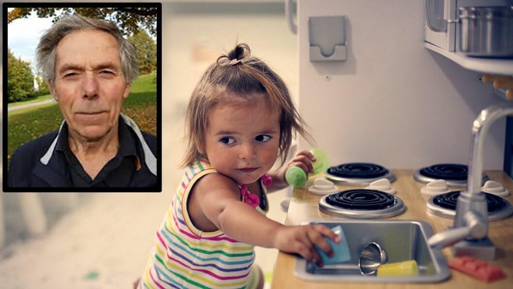 Professor Lars Smith mener økningen i antall ettåringer i barnehagen må få konsekvenser for bemanningen. Han advarer også foreldre mot å la de minste barna ha for lange dager i barnehagen.