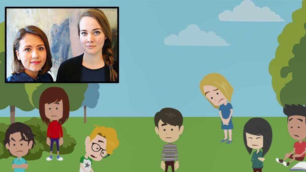 Psykologistudentene Trine Silje Segadal Fluge (t.v) og Trine Skeistrand Kjoberg har laget alt fra manus til animasjoner.