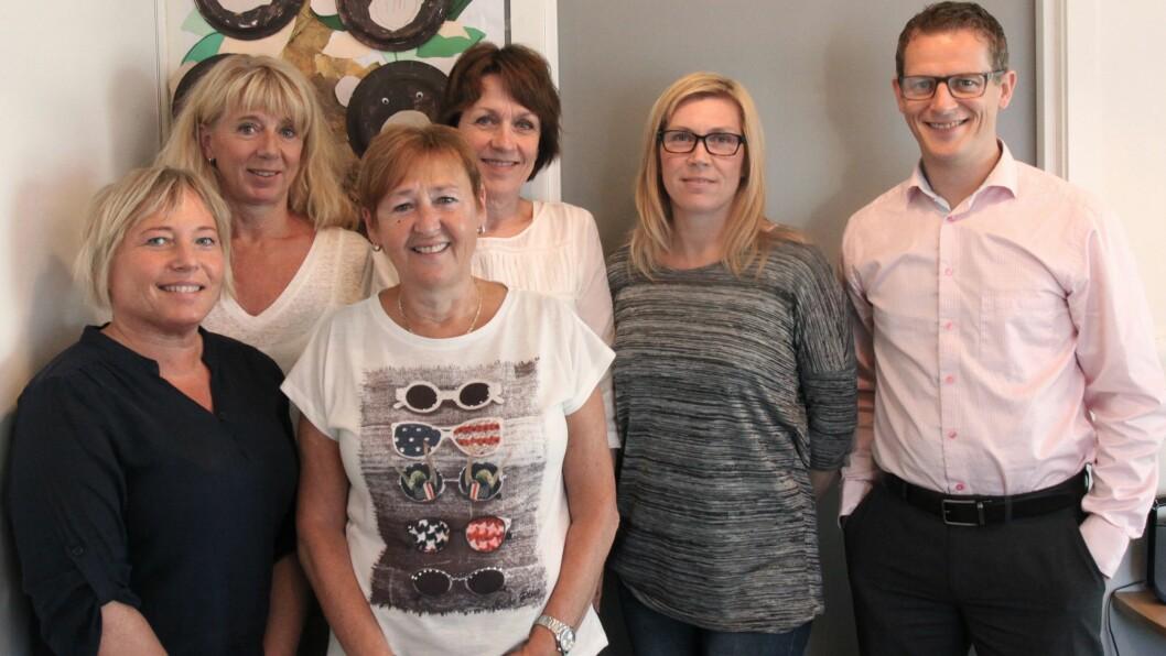 Har testet ut systemet: F.v: Kristina Lauritsen, Minda Borø, Mary Ann Grytten, Torunn Johannessen, Trine Knapstad og Lars Grimstad.