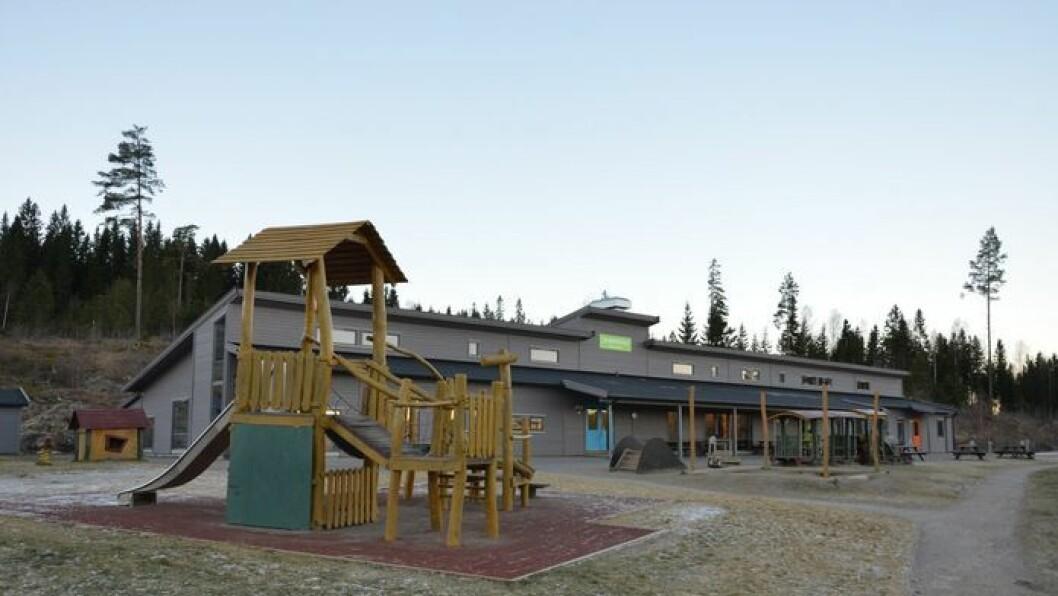 Spor tyder på at leketog og benker utenfor Slattum barnehage blir brukt til mer enn barnlig lek. Foto: Nittedal kommune.