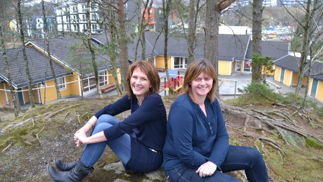 Stor, liten suksess. Styrerepresentant og barnehagemamma Marit Offerdal og daglig leder Liv Olaug Aasheim Nordal i Vindharpen barnehage.