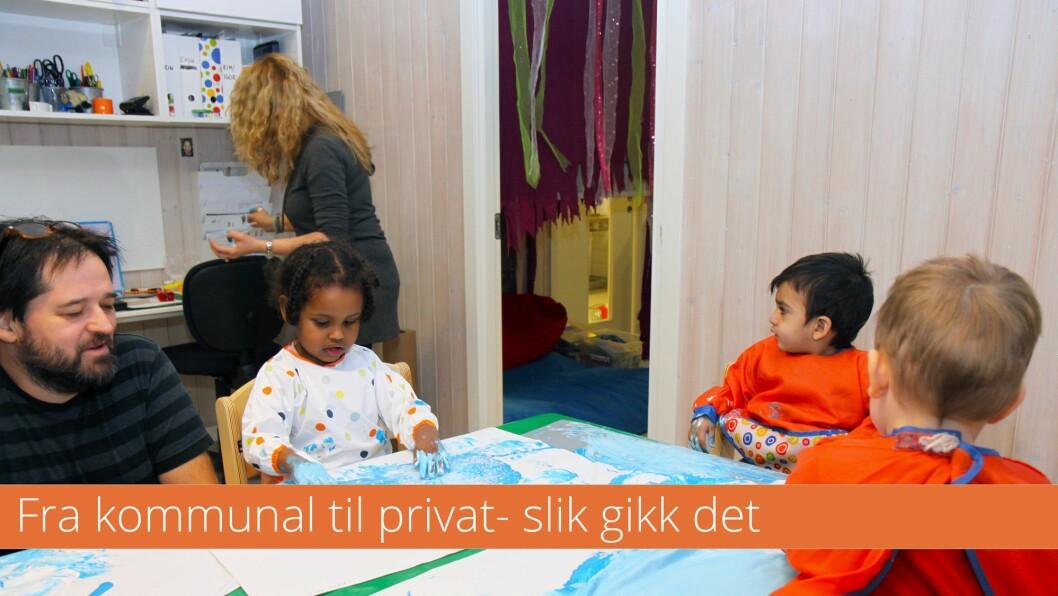 Nils-Ole Vollan er daglig leder i Lindebergstua Kanvas barnehage, og gikk fra å være regionsleder i Kanvas til lederstilling i barnehagen 1. august i fjor. Han beskriver prosessen i forkant av salget som tøff for de ansatte. Her er han sammen med Ruben Eliassen (2), Ayan Abbas (2) og Kamil Afroze (1).