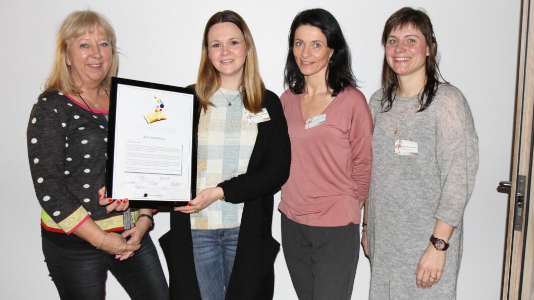 Det var en stolt gjeng fra Berg barnehage som mottok Leseprisen 2016.
