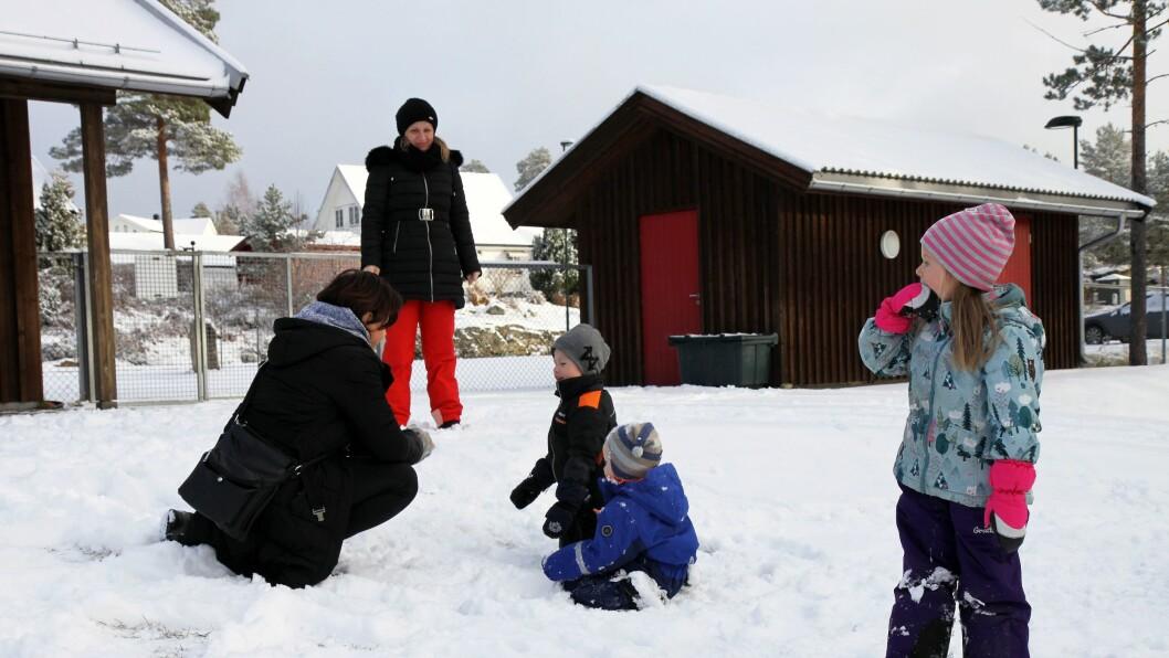 Fire barnehageansatte fra Serbia har denne uken vært på jobbskygging i Folkestad barnehage.