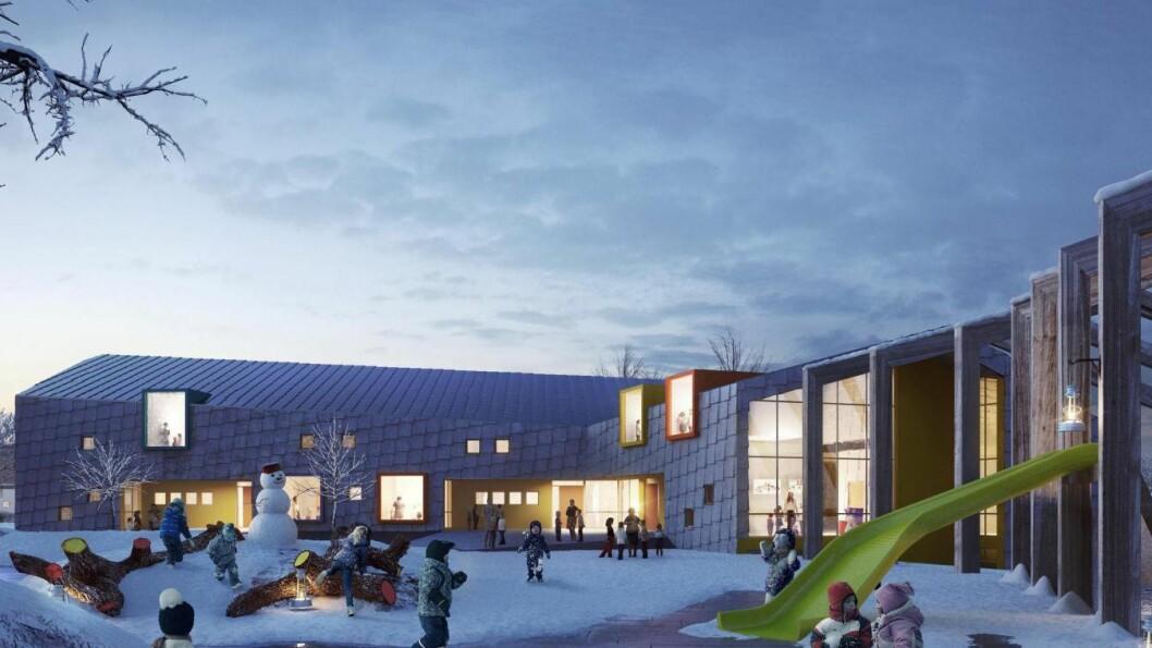 Slik ser Link Arkitektur for seg Kilden barnehage i bydel Bjerke. Dette er en dataskisse - ikke et fotografi.