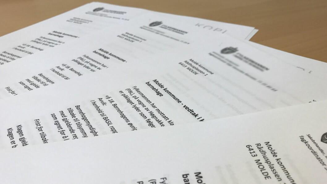 Fylkesmannen i Møre og Romsdal opphever alle vedtakene fra Molde kommune om å kreve økt bemanning i fire barnehager.