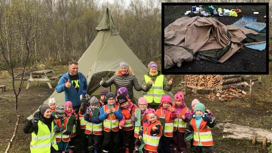 Lavvo-campen til Engmark barnehage var fullstendig ødelagt etter hærverket tirsdag (lille bildet). Da var det desto mer gledelig at sportsbutikken XXL onsdag dukket opp med en flunke ny lavvo til barna.