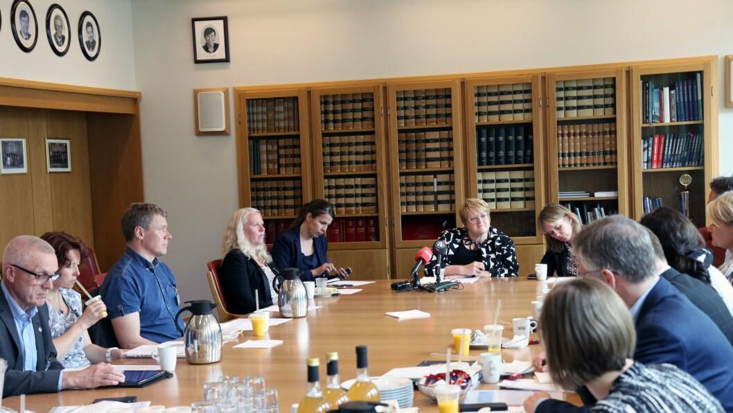 Venstre-leder Trine Skei Grande hadde mandag invitert velferdsaktører og interesseorganisasjoner til minihøring.