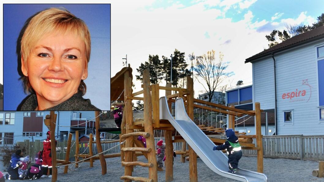 Styrer Ragnhild Short i Espira Ulsetskogen barnehage mener de ansattes tilstedeværelse for barna gir gode relasjoner. Og det legger foreldrene merke til.