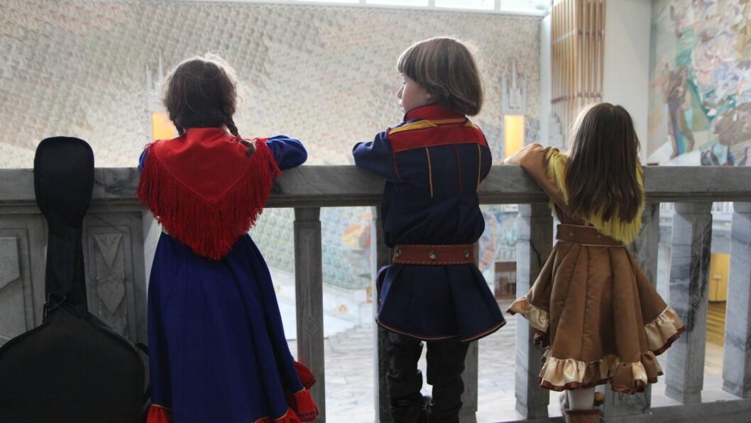 Samiske barn fra Cizas Samisk barnehage i Oslo, feiret Samefolkets dag i selveste Oslo Rådhus 6. februar 2013.