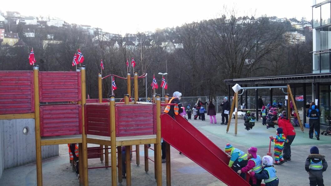 – Lekene var en suksess selv uten snø, sier daglig leder for Eitillstad FUS barnehage, Tor Espen Hylland.