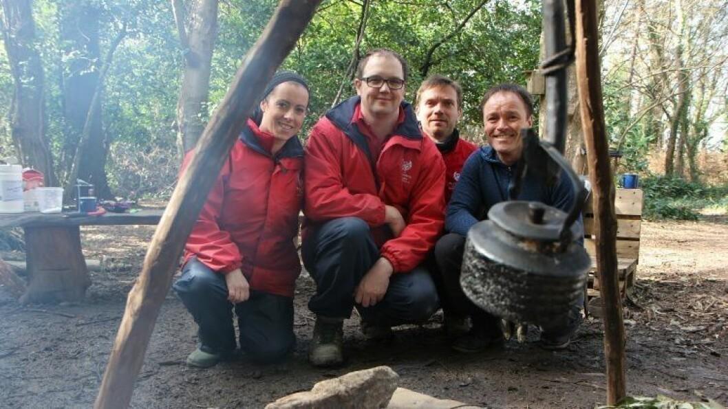 I mål. Etter mange lange dager og mye hard jobbing kan pedagogisk leder Sarah Quinn, Andrew Noble, Steffen Eriksen og Kurt-Ivar Morsdal anse Dublins første naturbarnehage som ferdig.