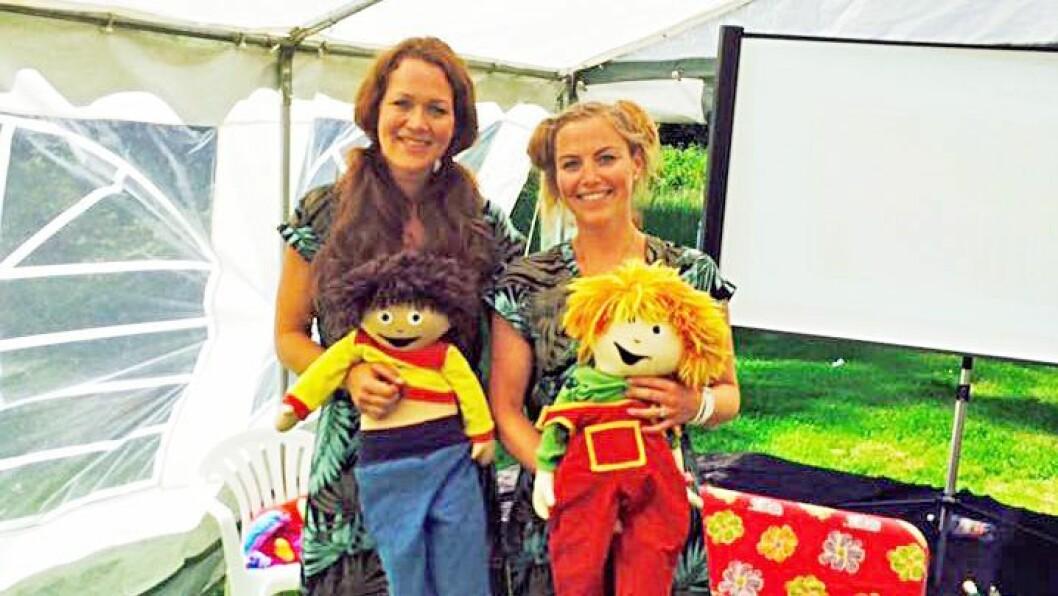 Nelly og Hamza sammen med Lise Lotte Ågedal og Linn Elise Heimro Kristiansen på Jordbæreventyret barne- og familiefestival i Sylling.