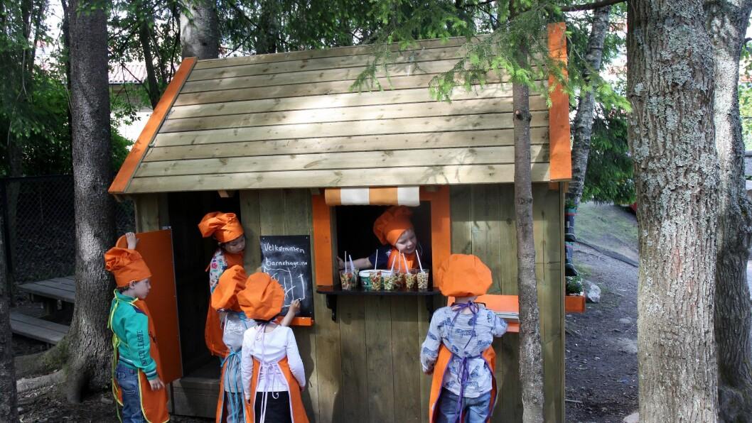 Syv tre- og fireåringer i Rudshøgda Kanvas-naturbarnehage har denne våren bygget sin egen kafé sammen med vaktmester Johnny Lauten.