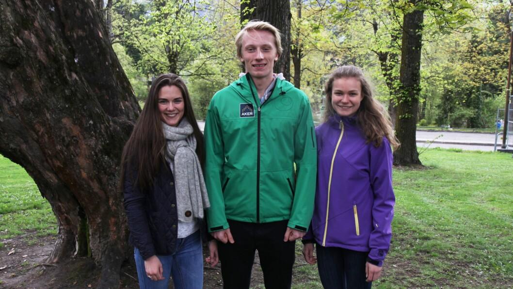 Har testet ut hvordan det er å jobbe i barnehage: F.v: Mathilde Menkerud Sagbakken (16), Øyvind Bryhn Pettersen (16) og Sofie Rønningen Kleven (17).