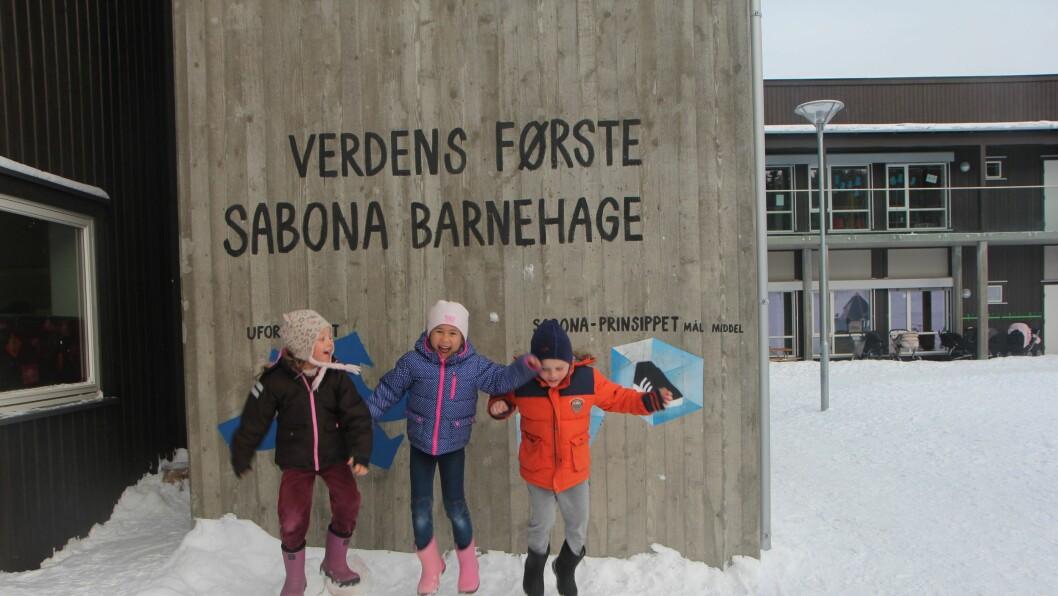 Hurra for barnehagen vår, ropes i kor foran noen av de viktigste sabona-prinsippene.