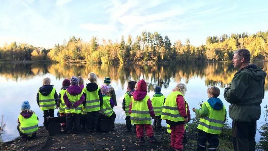 Fiskelykken lot vente på seg da Fjæraskogen barnehage i Trondheim var på camping i marka, men det la ingen demper på turgleden.
