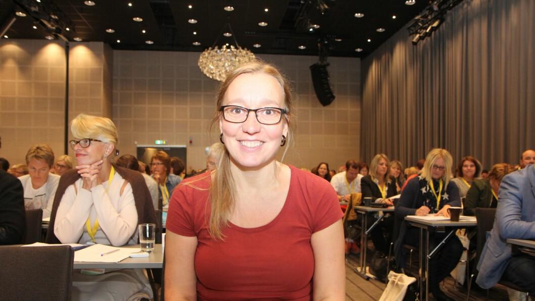 Mona Nicolaysen på Utdanningsdirektoratets kvalitetskonferanse i Bergen. Nicolaysen er barnehagelærer og selverklært pedagogista.