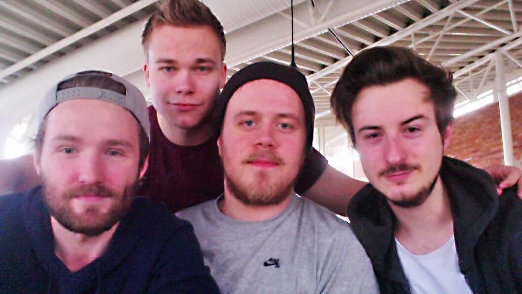 Barnehagelærerstudentene Benjamin J. P. Morgan, Marcus Bjørsland, Tobias Hareide Berg og Michael Martinsen.