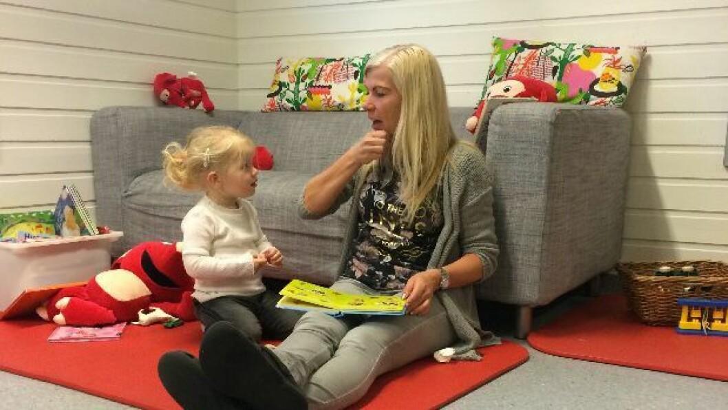 I Solås barnehage i Gjesdal kommune, bruker både barn og personal tegn til tale når de kommuniserer.