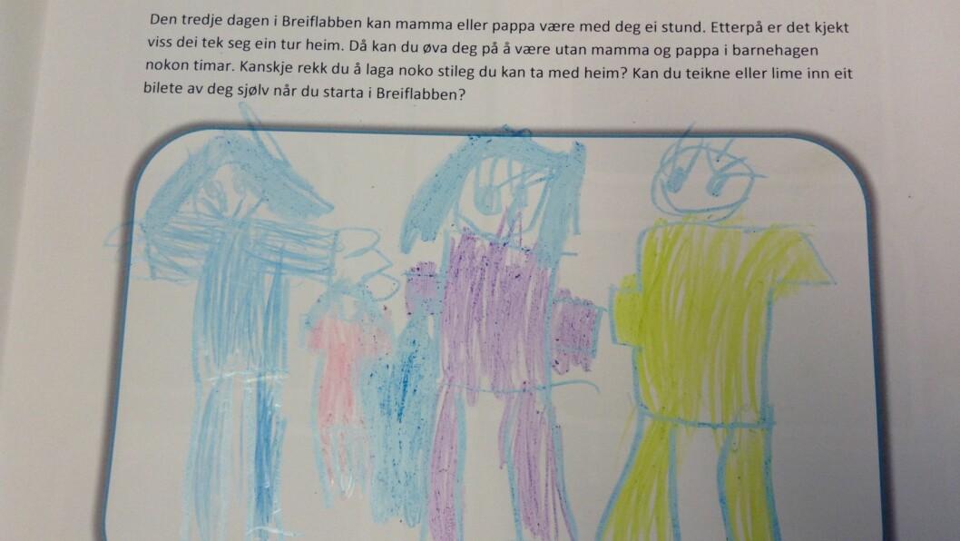 Barna oppfordres til å fortelle litt om hvordan de har det i barnehagen via tegninger i årsplanen.