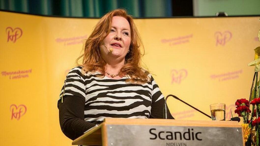 Fungerende leder i Krf, Dagrun Eriksen taler til landsmøtet.