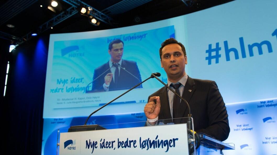 Høyres innvandringspolitiske talsmann Mudassar H. Kapur. Bildet er fra Høyres landsmøte i fjor.