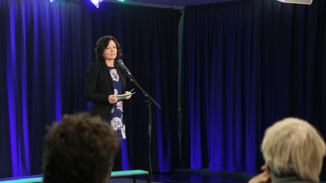 Solveig Horne (Frp). Barne-, likestillings- og integreringsminister.