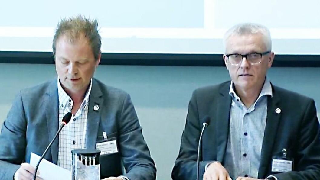 Styreleder i PBL Eirik Husby og administrerende direktør i PBL, Arild M. Olsen på høringen.