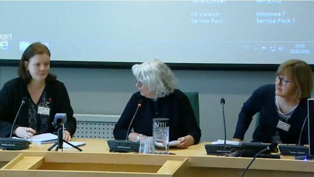 Fagforbundet på høring:Mette Henriksen Aas, AU-medlem,Kristine Hansen, avdelingsleder ogIngri Bjørnevik, rådgiver.