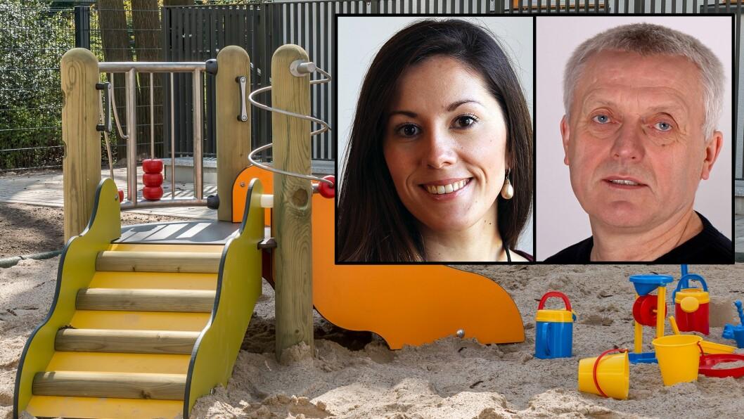 Politisk rådgiver i Kunnskapsdepartementet Hannah Atic (H) og administrerende direktør i PBL, Arild M. Olsen, reagerer begge på Arbeiderpartiets budsjettforslag om å kutte 300 millioner kroner i tilskuddene til ikke-kommunale barnehager.