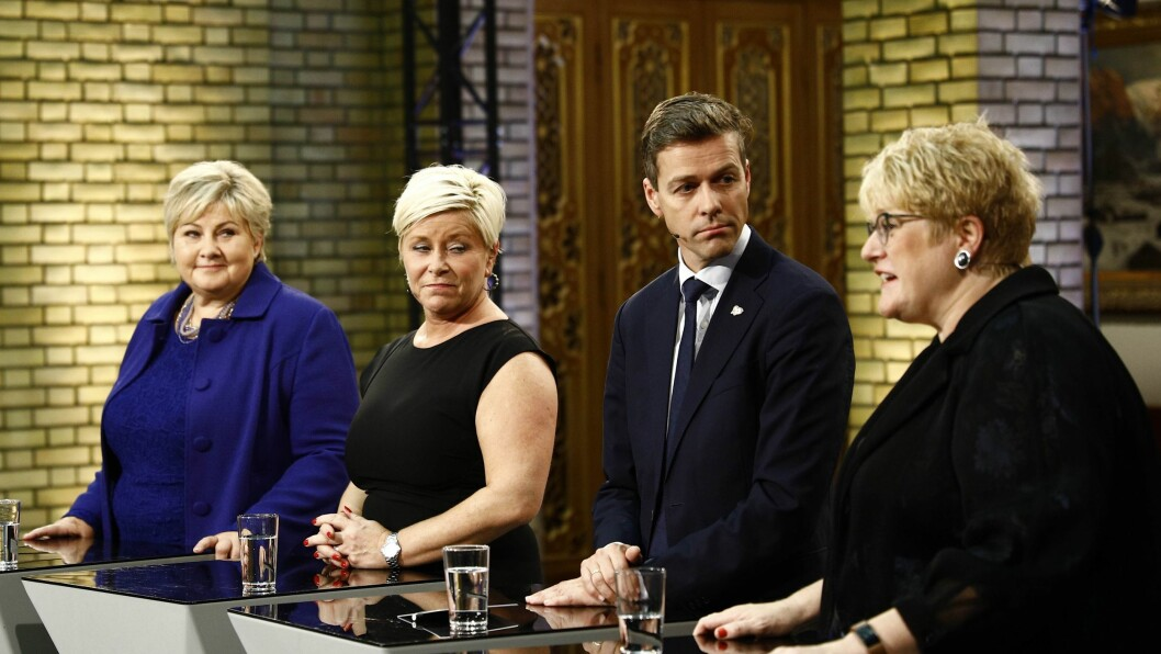 Statsminister Erna Solberg (H), finansminister Siv Jensen (Frp), KrF-leder Knut Arild Hareide og Venstre-leder Trine Skei Grande, her fotografert under partilederdebatten valgnatten.