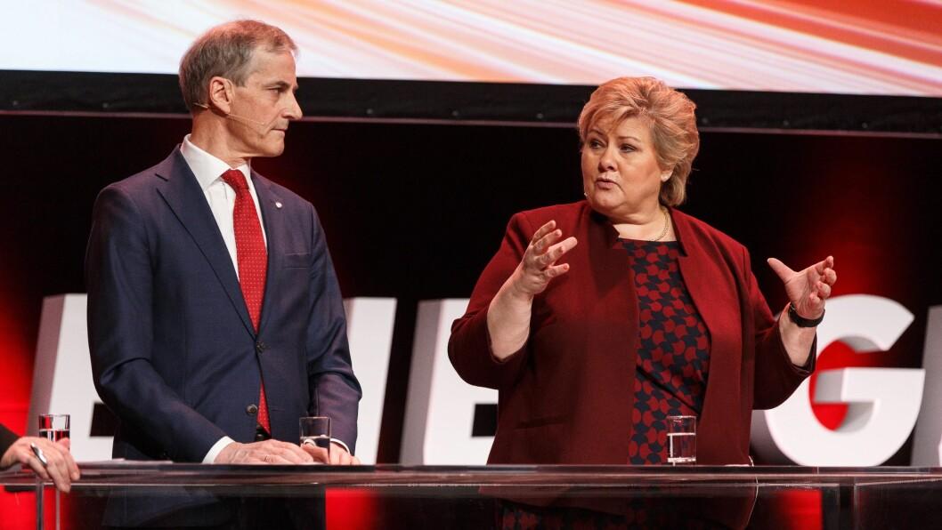 Statsministerkandidatene Jonas Gahr Støre (Ap) og Erna Solberg (H). Bildet er tatt ved en tidligere anledning.