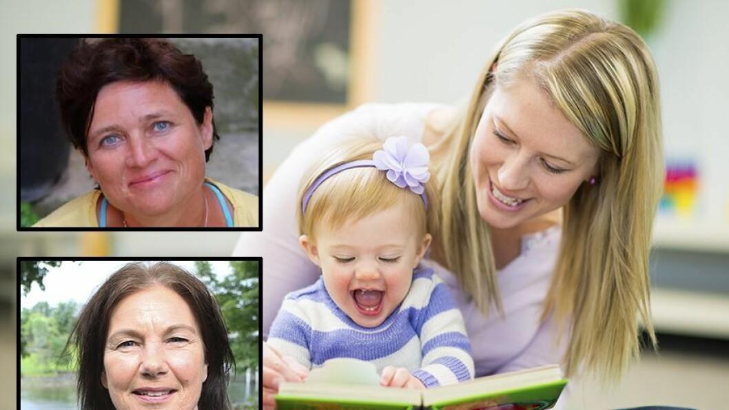 Professor i nevropsykologi, Audrey van der Meer (øverst), og professor i psykologi, May Britt Drugli, mener det ikke er grunnlag for å advare mot å sende ettåringer i barnehage.