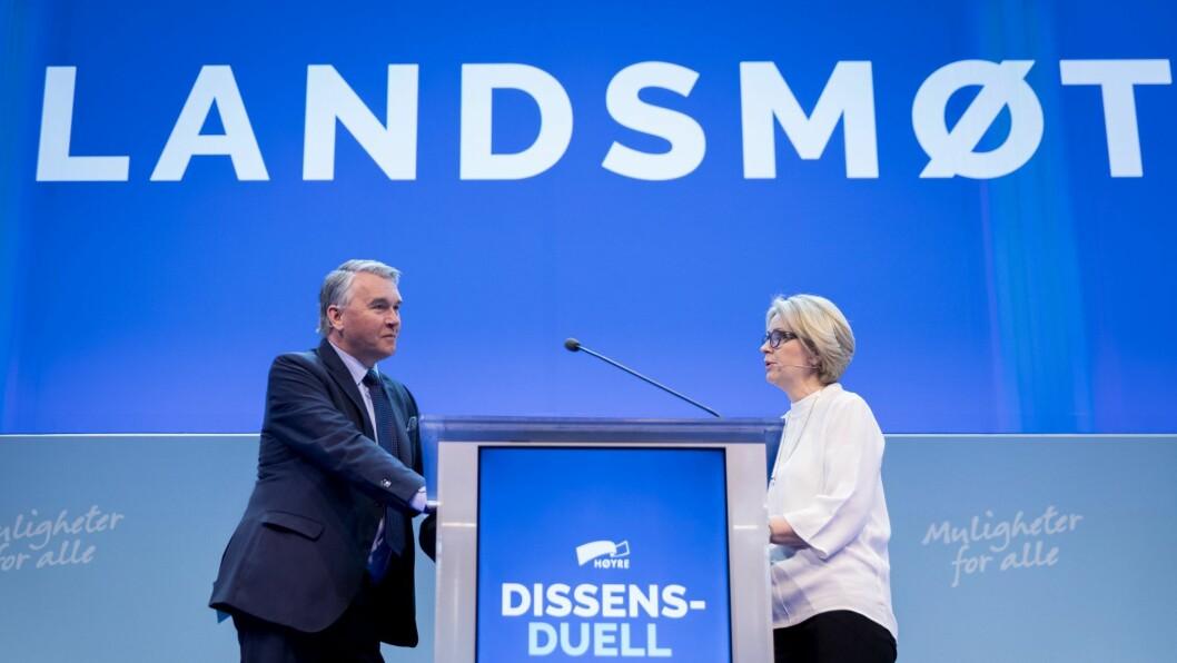 Høyres parlamentariske leder Trond Helleland og Kristin Vinje i Oslo Høyre debatterer barnetrygden.