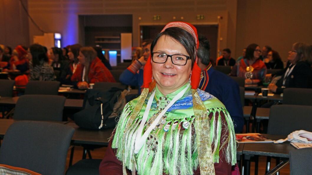 Inger Eline Eira Buljo er avdelingsdirektør for oppvekst- og opplæring i Sametinget. Her på FUBs foreldrekonferanse under Tråante 2017.